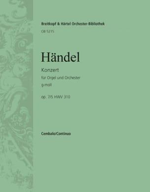 Georg Friedrich Haendel - Orgelkonzert g-moll op. 7/5 HWV 310 - Partition - di-arezzo.fr