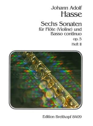 Johann Adolf Hasse - 6 Sonaten op. 5 - Heft 2 - Flöte Violine u. Bc - Partition - di-arezzo.fr