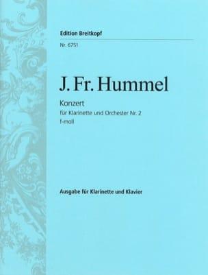 Joseph Friedrich Hummel - Klarinettenkonzert Nr. 2 f-moll – Klarinette Klavier - Partition - di-arezzo.fr