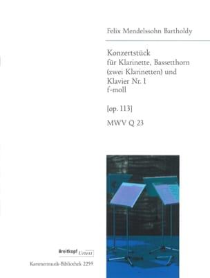 Bartholdy Felix Mendelssohn - Konzertstück F-Moll (Fa Min.) Op. 113 - 2 Clarinettes-Piano - Partition - di-arezzo.fr