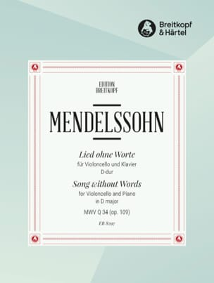 MENDELSSOHN - Lied ohne Worte op. 109 - Partition - di-arezzo.fr