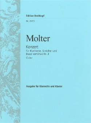 Johann Melchior Molter - Klarinettenkonzert Nr. 3 G-Dur - Klarinette Klavier - Partition - di-arezzo.fr