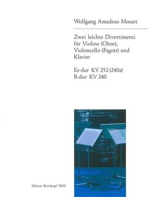 MOZART - 2 Leichte Divertimenti KV 252, KV 240 -Violine Cello piano - Partition - di-arezzo.fr