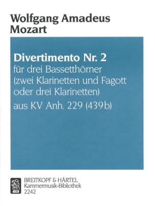 MOZART - Divertimento Nr. 2 - 3 Bassetthörner 2 Klar. Fag. / 3 Klar. - Sheet Music - di-arezzo.co.uk