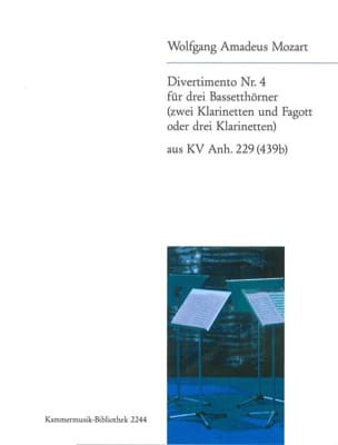 MOZART - Divertimento Nr. 4 - 3 Bassetthörner 2 Klar. Fag. / 3 Klar. - Sheet Music - di-arezzo.co.uk