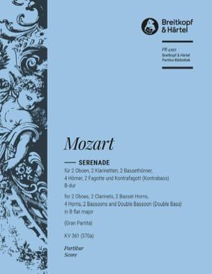 Serenade B-Dur KV 361- Partitur MOZART Partition laflutedepan