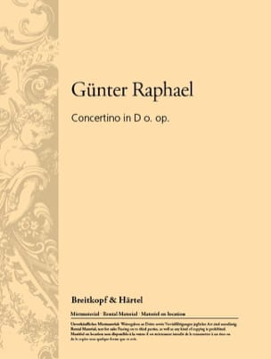 Günter Raphael - Concertino in D o. op. - Partition - di-arezzo.fr