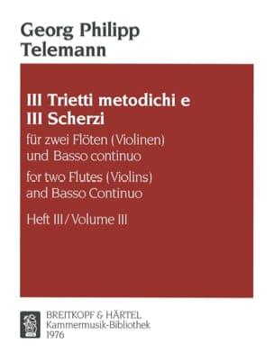 Georg Philipp Telemann - 3 Trietti metodichi e Scherzi - Heft 3 –2 Flöten (Violinen) Bc - Partition - di-arezzo.fr