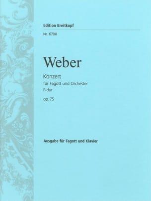 Carl Maria von Weber - Concerto Basson Fa Maj., Op. 75 - J.127 - Partition - di-arezzo.fr