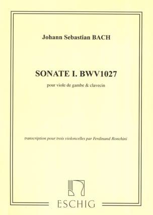 Sonate Nr 1 G-Dur Bwv 1027 BACH Partition Violoncelle - laflutedepan