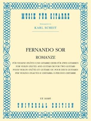Fernando Sor - Romanze – Violine (o. Flöte) und Gitarre o. 2 Gitare - Partition - di-arezzo.fr