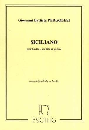 Giovanni Battista Pergolesi - Siciliano - Hautbois flûte guitare - Partition - di-arezzo.fr