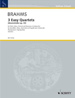 BRAHMS - 3 Easy quartet op. 22 - Flute oboe clarinet bassoon - Spielpartitur - Sheet Music - di-arezzo.co.uk