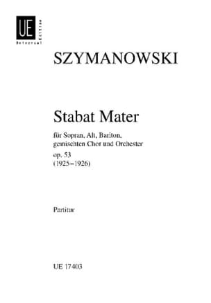 Karol Szymanowski - Stabat Mater op. 53 –Partitur - Partition - di-arezzo.fr