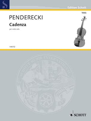 Krzysztof Penderecki - Cadenza – Viola - Partition - di-arezzo.fr