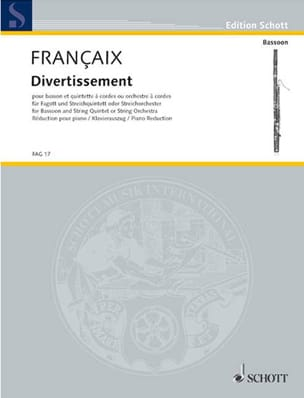 Jean Françaix - Entertainment - Bassoon and piano - Sheet Music - di-arezzo.co.uk