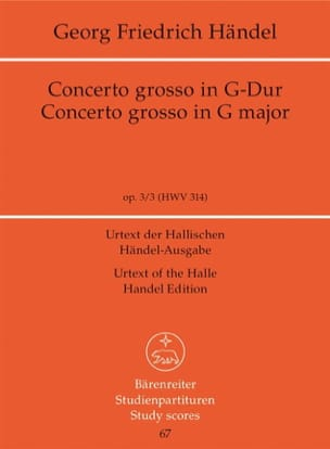 Georg Friedrich Haendel - Concerto Grosso Sol majeur - Partition - di-arezzo.fr