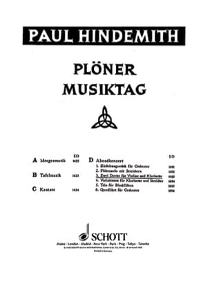 Paul Hindemith - Plöner Musiktag - Violine Klarinette - Sheet Music - di-arezzo.co.uk