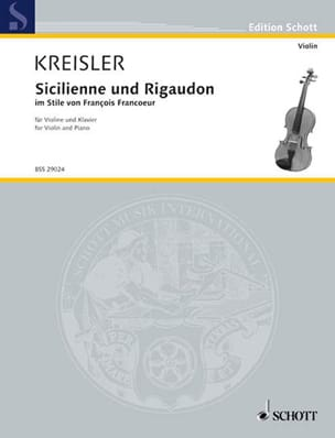 Fritz Kreisler - Sicilian and Rigaudon - Sheet Music - di-arezzo.co.uk
