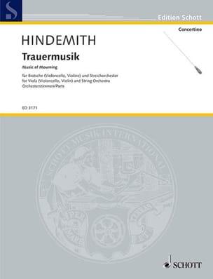 Paul Hindemith - Trauermusik –Orchesterstimmen - Partition - di-arezzo.fr