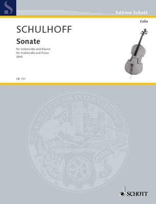 Erwin Schulhoff - Sonate (1914) - Cello - Partition - di-arezzo.fr
