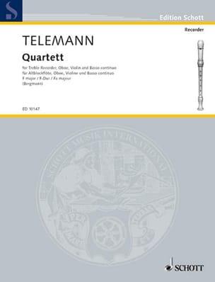 TELEMANN - Quartett F-Dur Fa M. - Flûte A Bec Alto-Hautbois-Violon-B. C. - Partition - di-arezzo.fr