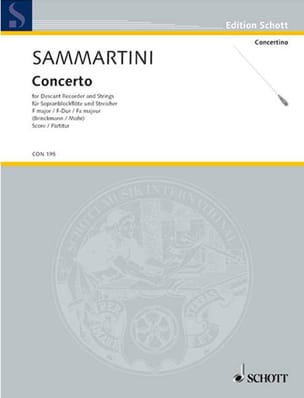 Giuseppe Sammartini - Konzert F-Dur für Sopranblockflöten – Partitur - Partition - di-arezzo.fr