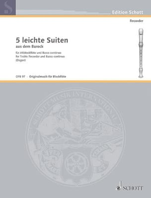 - 5 Leichte Suiten – Altblockflöte u. Bc - Partition - di-arezzo.fr