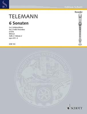 TELEMANN - 6 Sonaten für 2 Altblockflöten, Heft 2 op. 2 / 3-4 - Sheet Music - di-arezzo.co.uk