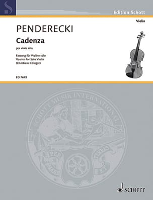 Krzysztof Penderecki - Cadenza - Violin - Sheet Music - di-arezzo.co.uk