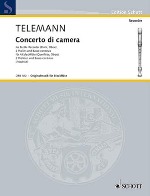 TELEMANN - Concerto di camera - Altblockflöte 2 Violinen BC - Partition - di-arezzo.fr