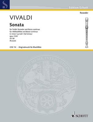 Antonio Vivaldi - Sonate g-Moll, op. 13a/6 RV 58 –Altblockflöte u. Bc - Partition - di-arezzo.fr
