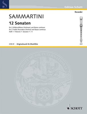 SAMMARTINI - 12 Sonaten - Heft 1: Nr. 1-4 - 2 Altblockflöten BC - Sheet Music - di-arezzo.co.uk