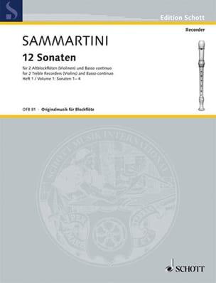 Giuseppe Sammartini - 12 Sonaten - Heft 1 : Nr. 1-4 –2 Altblockflöten BC - Partition - di-arezzo.fr
