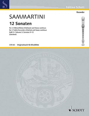 SAMMARTINI - 12 Sonaten - Heft 3: Nr. 9-12 - 2 Altblockflöten BC - Sheet Music - di-arezzo.co.uk