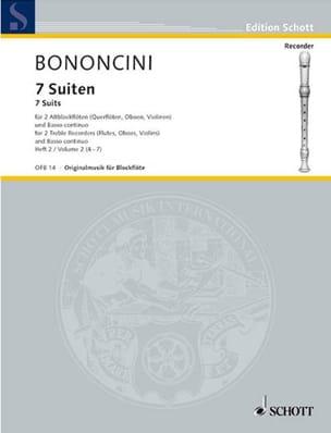 Giovanni Battista Bononcini - 7 Suiten - Heft 2 : Nr. 4-7 –2 Altblockflöten Bc - Partition - di-arezzo.fr
