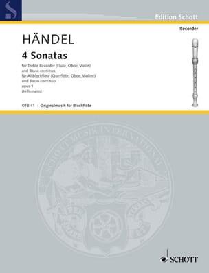 Georg Friedrich Haendel - 4 Sonaten aus op. 1 – Altblockflöte u. Bc - Partition - di-arezzo.fr