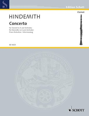 Paul Hindemith - Klarinetten-Konzert –Klarinette in A Klavier - Partition - di-arezzo.fr