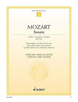 Sonate A-Dur KV 305 MOZART Partition Violon - laflutedepan