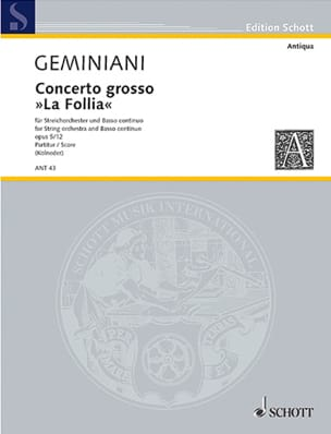 Francesco Saverio Geminiani - Concerto grosso: The Follia - Partitur - Sheet Music - di-arezzo.com