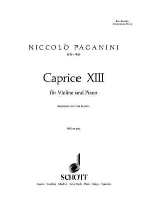 Caprice Nr. 13 B-Dur Paganini Niccolò / Kreisler Fritz laflutedepan