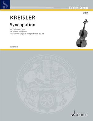 Syncopation KREISLER Partition Violon - laflutedepan