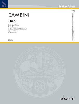 Duo A-Dur op. 11 Nr. 5 - 2 Flöten Giuseppe Maria Cambini laflutedepan