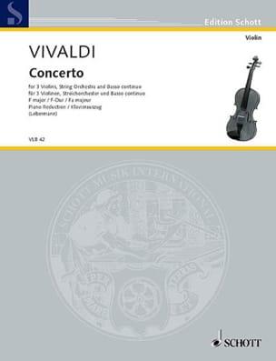Antonio Vivaldi - Konzert F-Dur - 3 Violons Piano - Partition - di-arezzo.fr