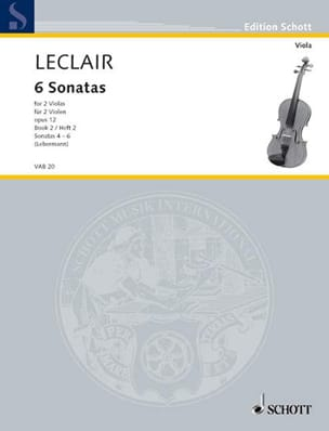 Jean-Marie Leclair - 6 Sonatas op. 12, Volume 2 - 2 Violas - Sheet Music - di-arezzo.co.uk