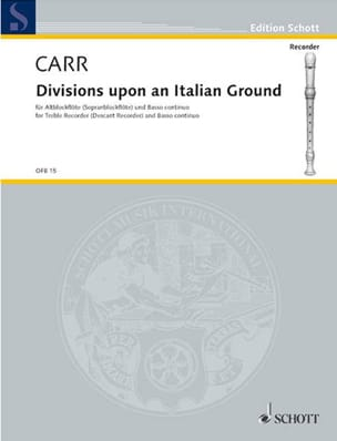 Robert Carr - Divisions upon an Italian Ground - Partition - di-arezzo.fr