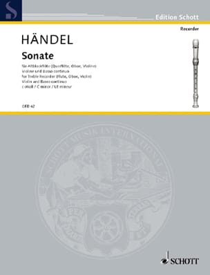 Georg Friedrich Haendel - Sonate c-moll – Altblockflöte Violine Bc - Partition - di-arezzo.fr