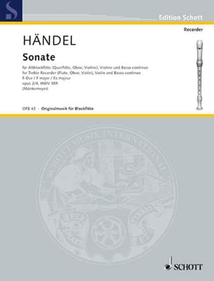 Georg Friedrich Haendel - Sonate F-Dur –Altblockflöte Violine Bc - Partition - di-arezzo.fr