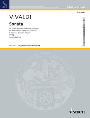 VIVALDI - Sonata F-Dur RV 52 - Altblockflöte u. Bc - Sheet Music - di-arezzo.co.uk