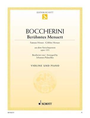 Berühmtes Menuett A-Dur BOCCHERINI Partition Violon - laflutedepan